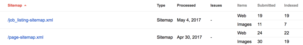 Example of Child Sitemaps in Search Console
