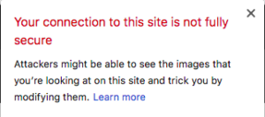 Web browser explaining that a site is not secure.